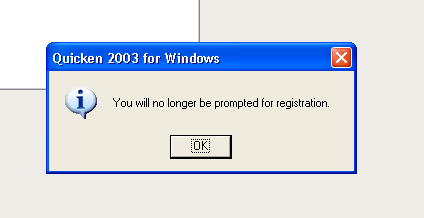 How to disable registration reminder on Quicken 2003